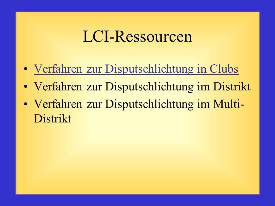 LCI-Ressourcen Verfahren zur Disputschlichtung in Clubs