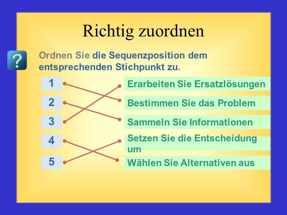 Richtig zuordnen Ordnen Sie die Sequenzposition dem entsprechenden Stichpunkt zu. 1. Erarbeiten Sie Ersatzlösungen.