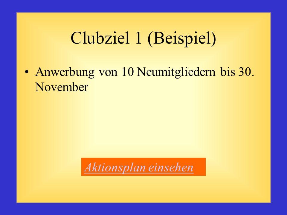 Clubziel 1 (Beispiel) Anwerbung von 10 Neumitgliedern bis 30. November