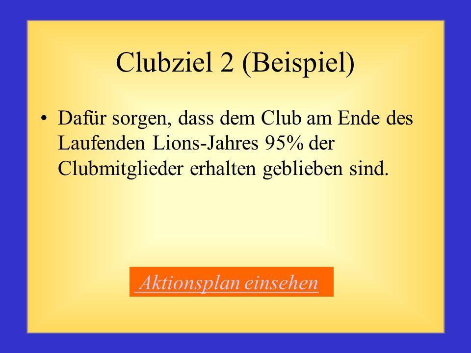 Clubziel 2 (Beispiel) Dafür sorgen, dass dem Club am Ende des Laufenden Lions-Jahres 95% der Clubmitglieder erhalten geblieben sind.