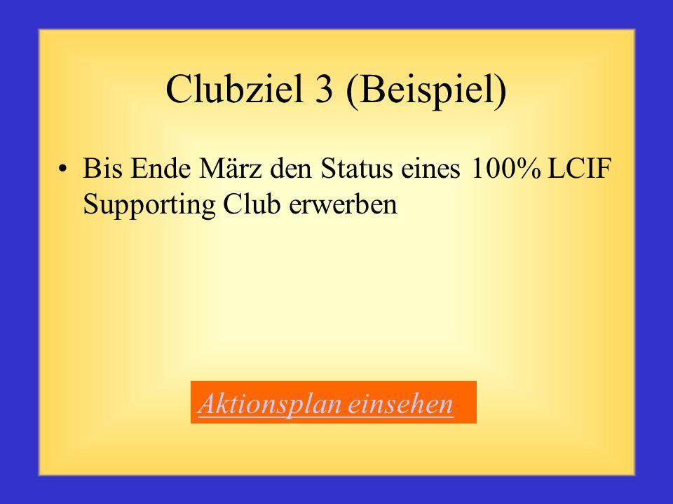 Clubziel 3 (Beispiel) Bis Ende März den Status eines 100% LCIF Supporting Club erwerben.