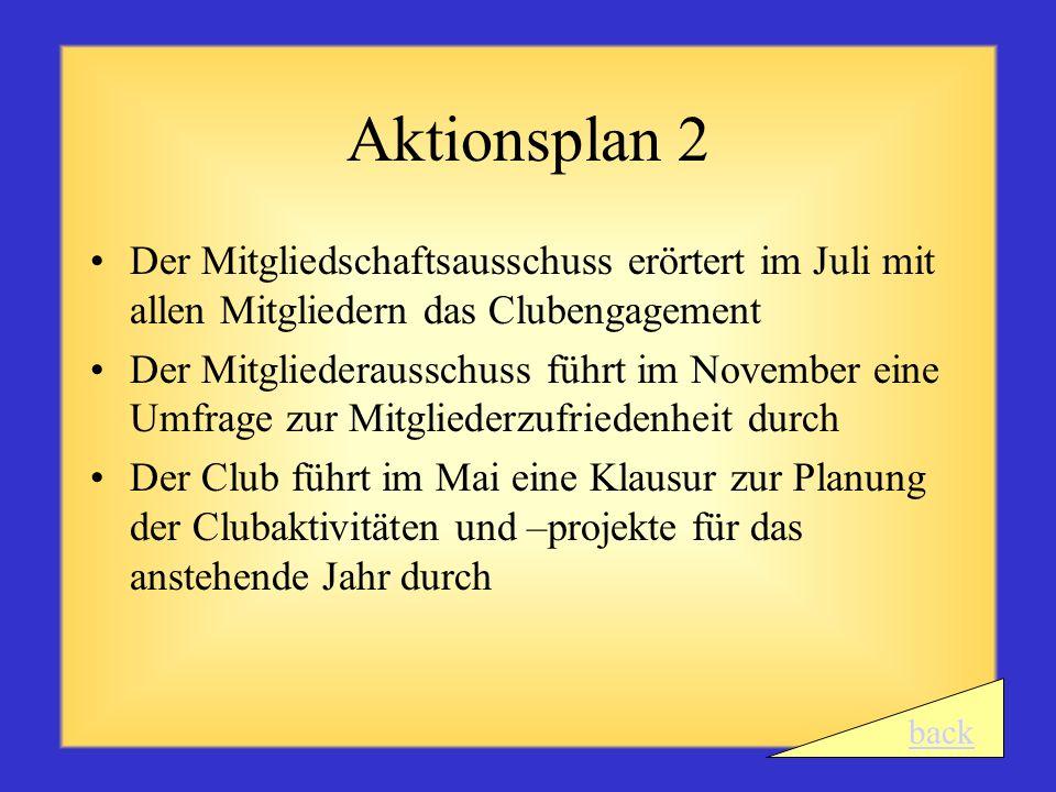 Aktionsplan 2 Der Mitgliedschaftsausschuss erörtert im Juli mit allen Mitgliedern das Clubengagement.