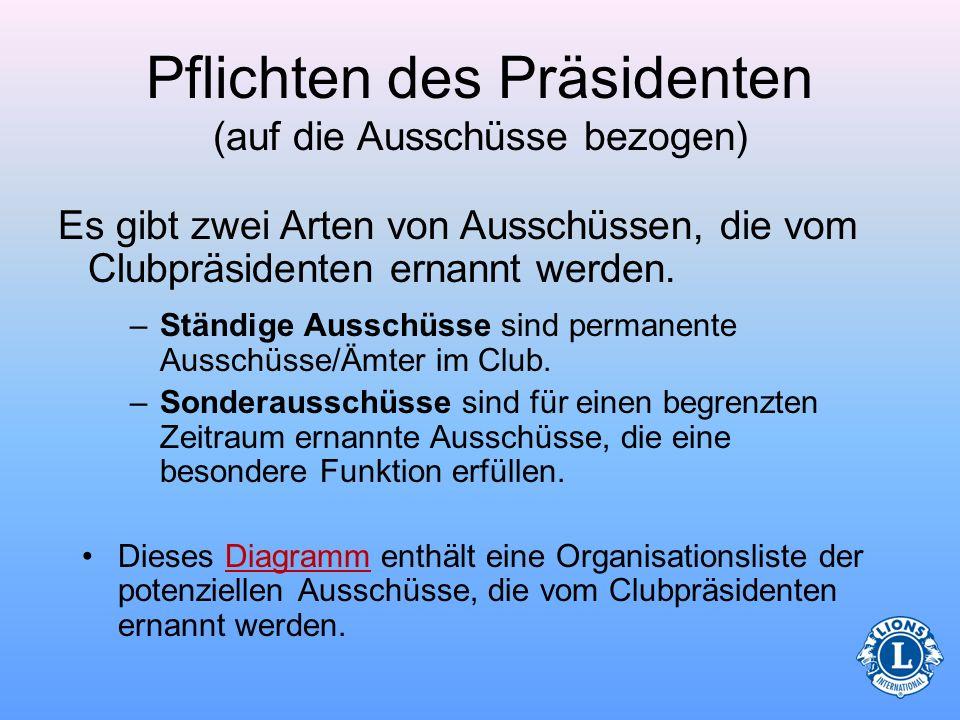 Pflichten des Präsidenten (auf die Ausschüsse bezogen)