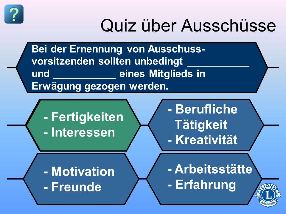 Quiz über Ausschüsse - Berufliche Tätigkeit - Fertigkeiten