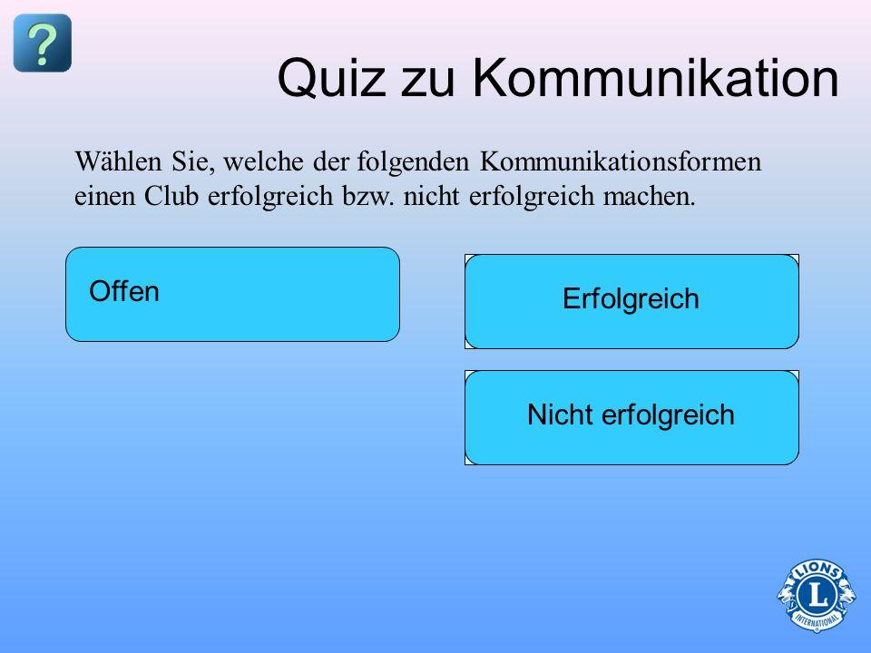 Quiz zu KommunikationWählen Sie, welche der folgenden Kommunikationsformen einen Club erfolgreich bzw. nicht erfolgreich machen.