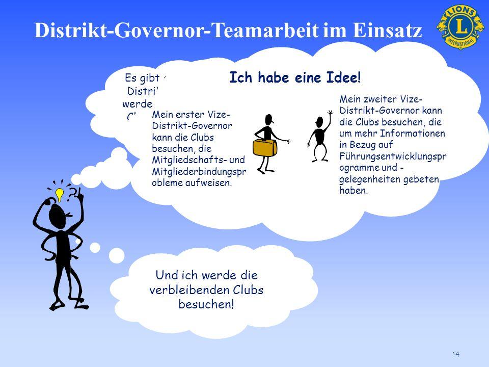 Distrikt-Governor-Teamarbeit im Einsatz