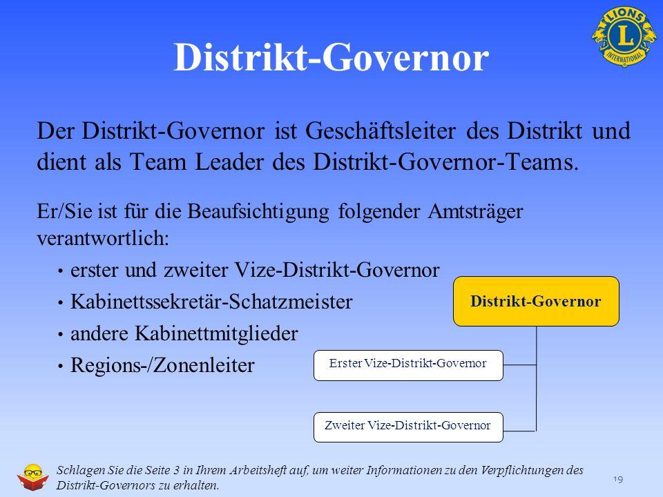 Distrikt-Governor Der Distrikt-Governor ist Geschäftsleiter des Distrikt und dient als Team Leader des Distrikt-Governor-Teams.