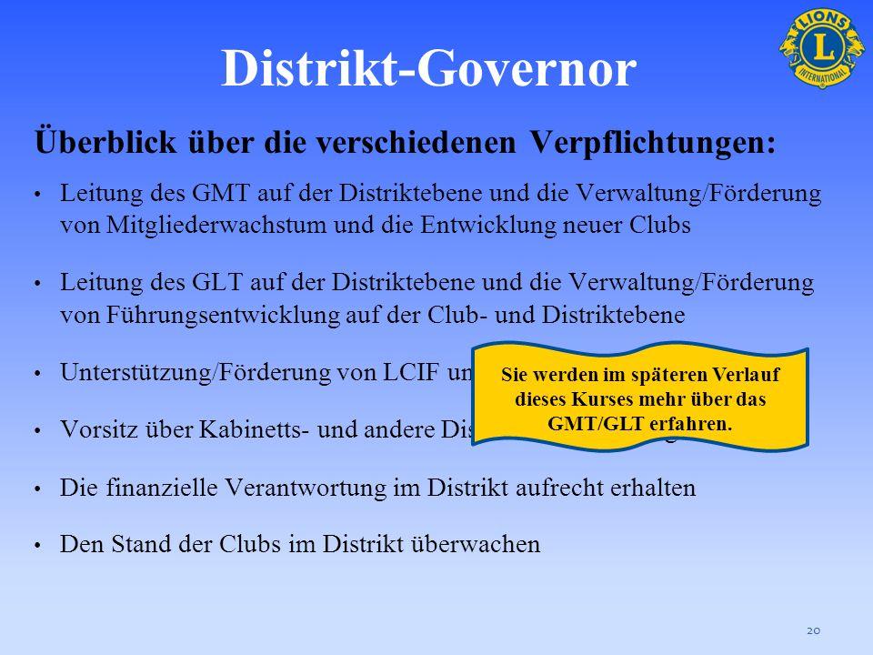 Distrikt-Governor Überblick über die verschiedenen Verpflichtungen:
