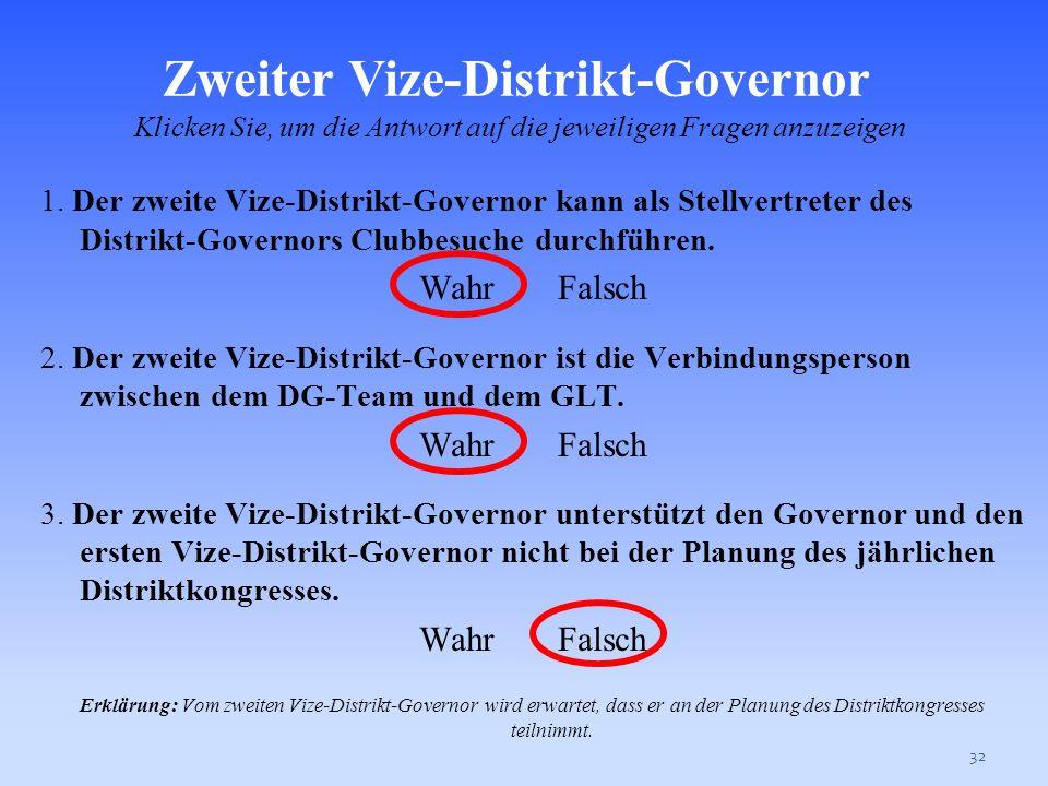 Zweiter Vize-Distrikt-Governor Klicken Sie, um die Antwort auf die jeweiligen Fragen anzuzeigen