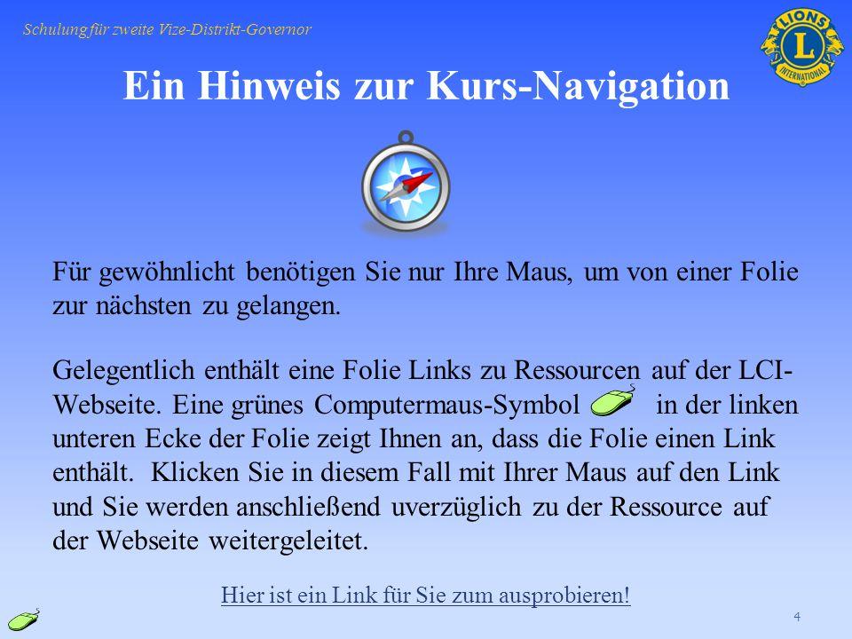 Ein Hinweis zur Kurs-Navigation