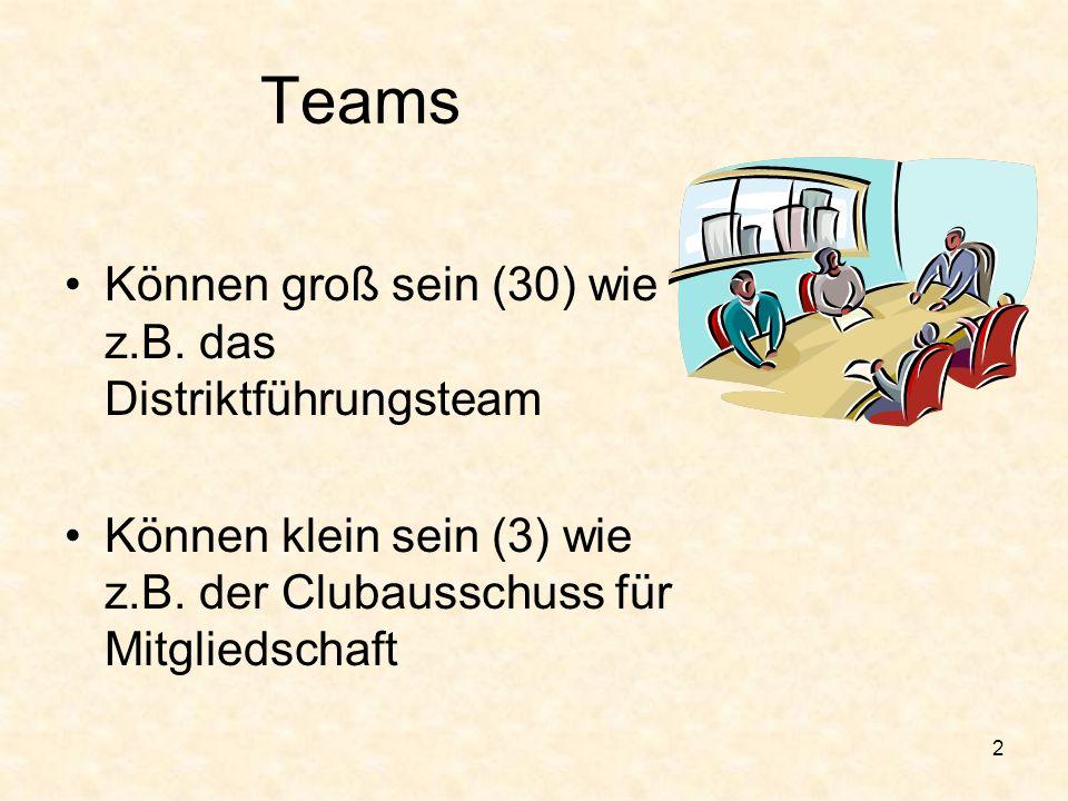 Teams Können groß sein (30) wie z.B. das Distriktführungsteam