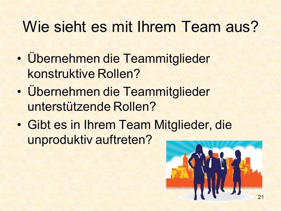 Wie sieht es mit Ihrem Team aus