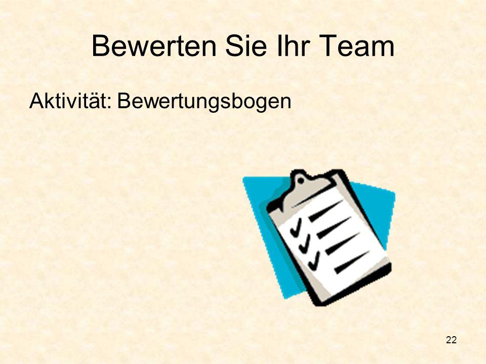 Bewerten Sie Ihr Team Aktivität: Bewertungsbogen