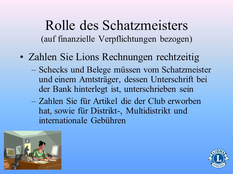 Rolle des Schatzmeisters (auf finanzielle Verpflichtungen bezogen)