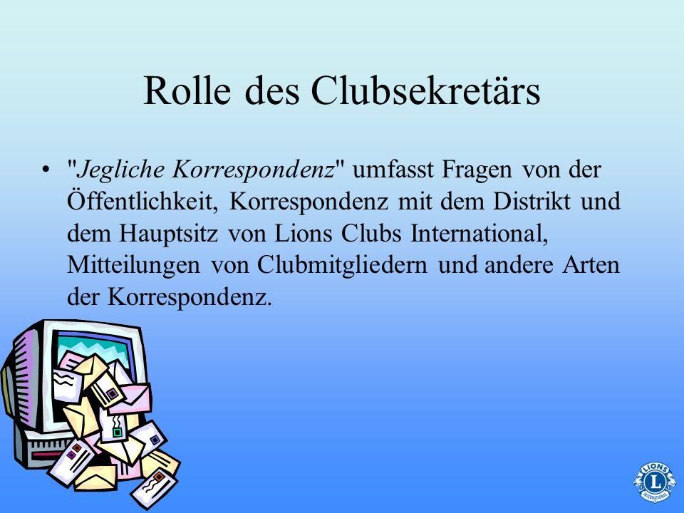 Rolle des Clubsekretärs