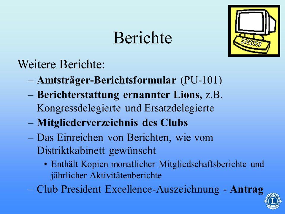 Berichte Weitere Berichte: Amtsträger-Berichtsformular (PU-101)