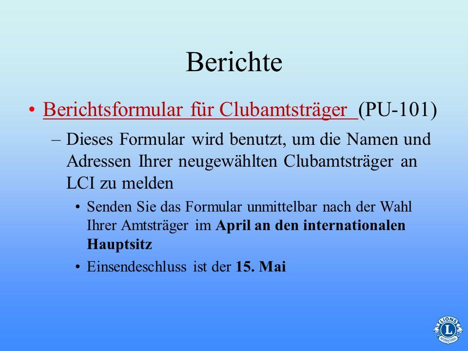 Berichte Berichtsformular für Clubamtsträger (PU-101)