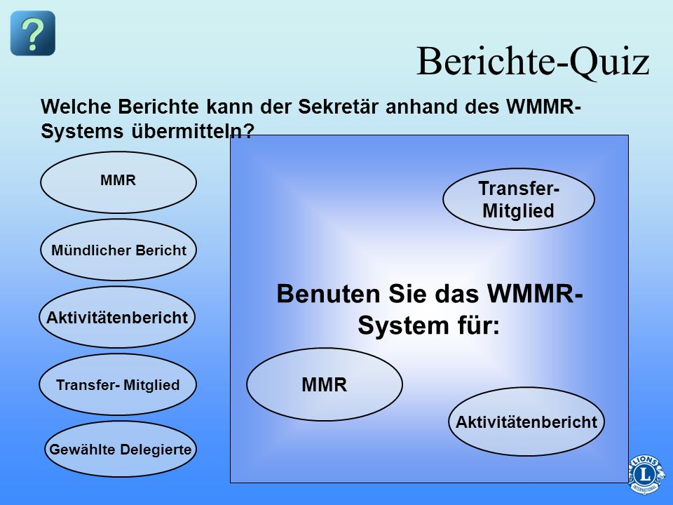 Benuten Sie das WMMR-System für: