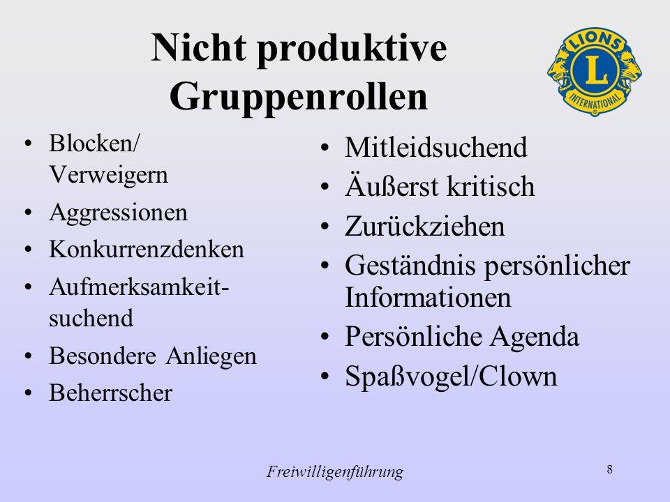 Nicht produktive Gruppenrollen