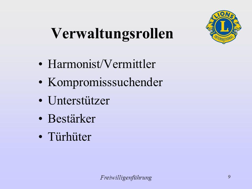 Verwaltungsrollen Harmonist/Vermittler Kompromisssuchender