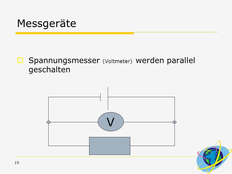 Messgeräte Spannungsmesser (Voltmeter) werden parallel geschalten V