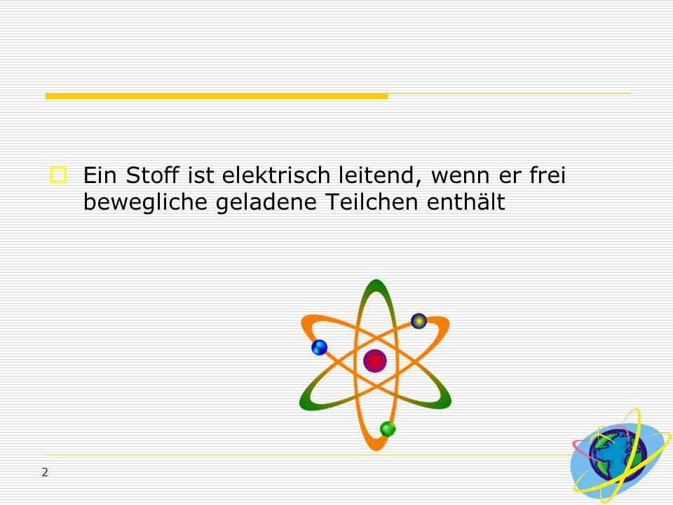 Ein Stoff ist elektrisch leitend, wenn er frei bewegliche geladene Teilchen enthält