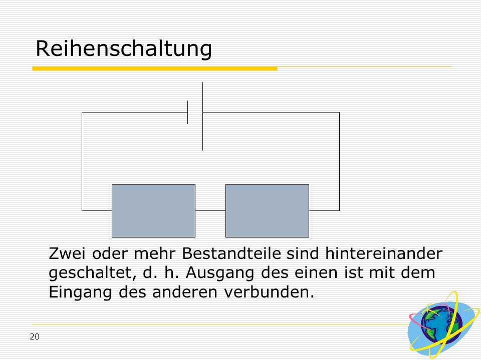 Reihenschaltung Zwei oder mehr Bestandteile sind hintereinander geschaltet, d.
