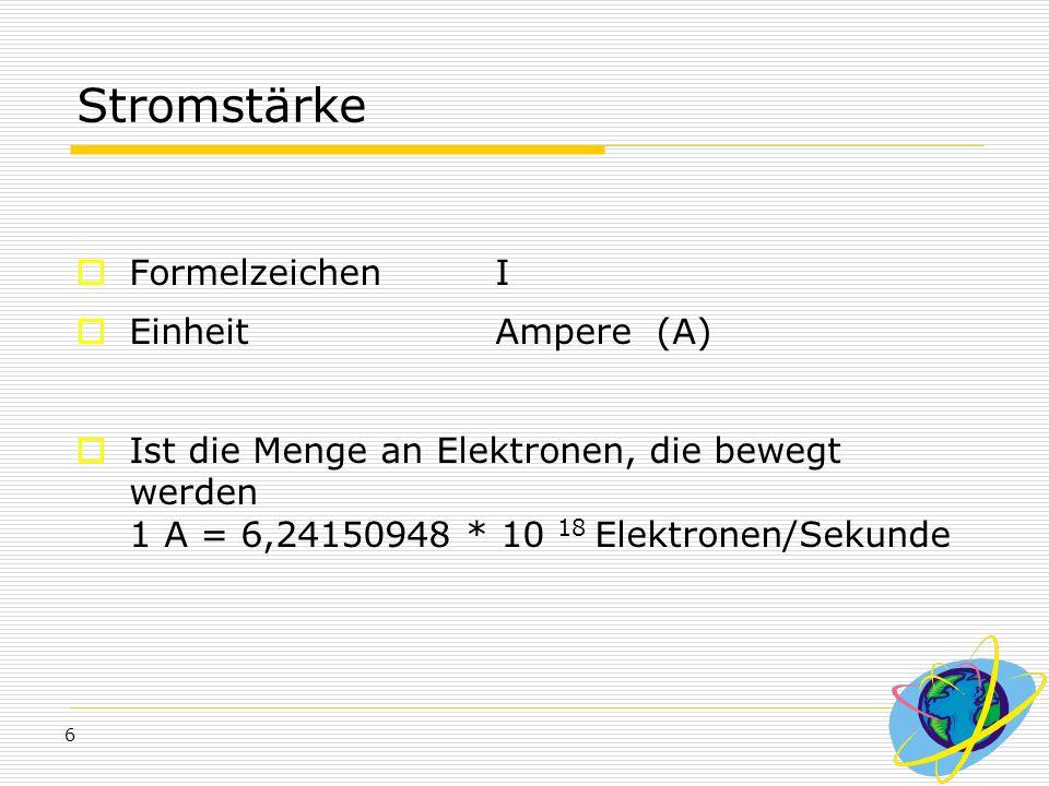 Stromstärke Formelzeichen I Einheit Ampere (A)