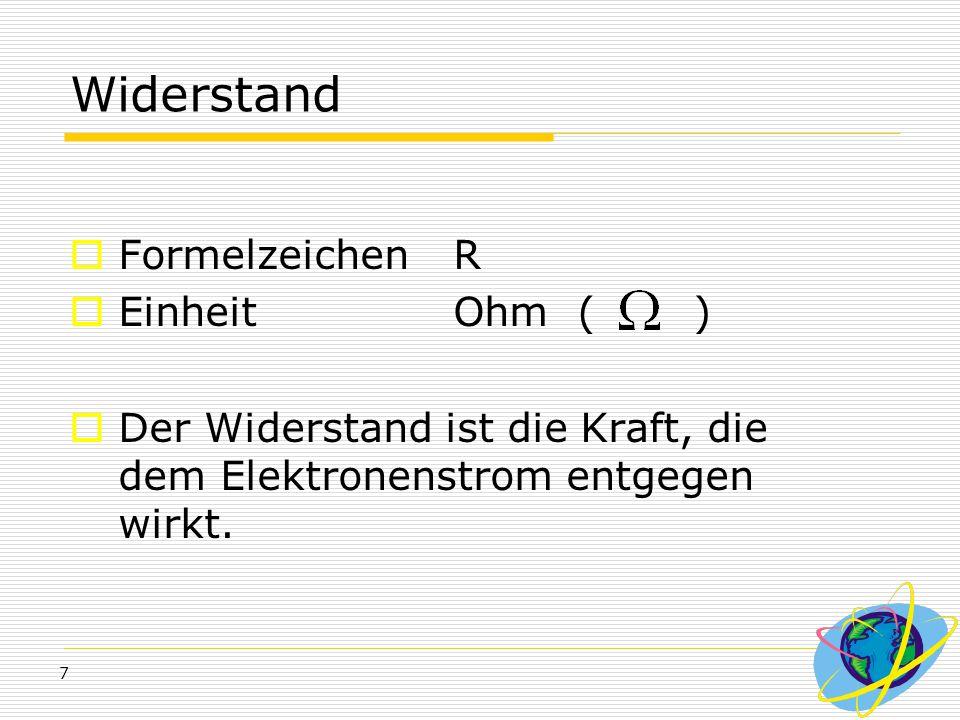 Widerstand Formelzeichen R Einheit Ohm ( )