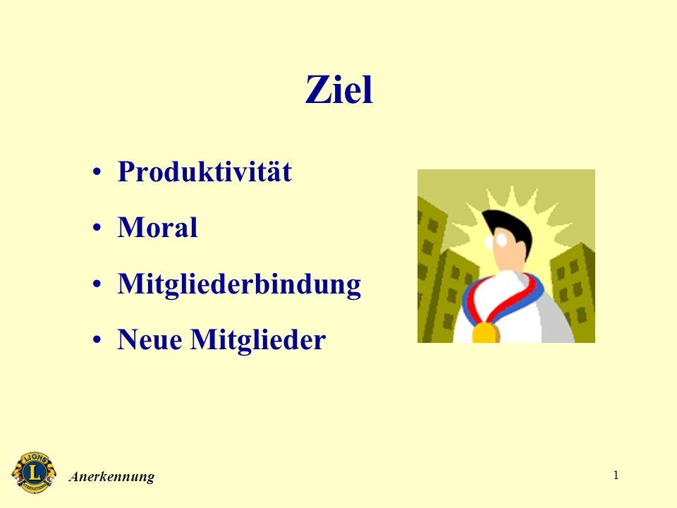 Ziel Produktivität Moral Mitgliederbindung Neue Mitglieder