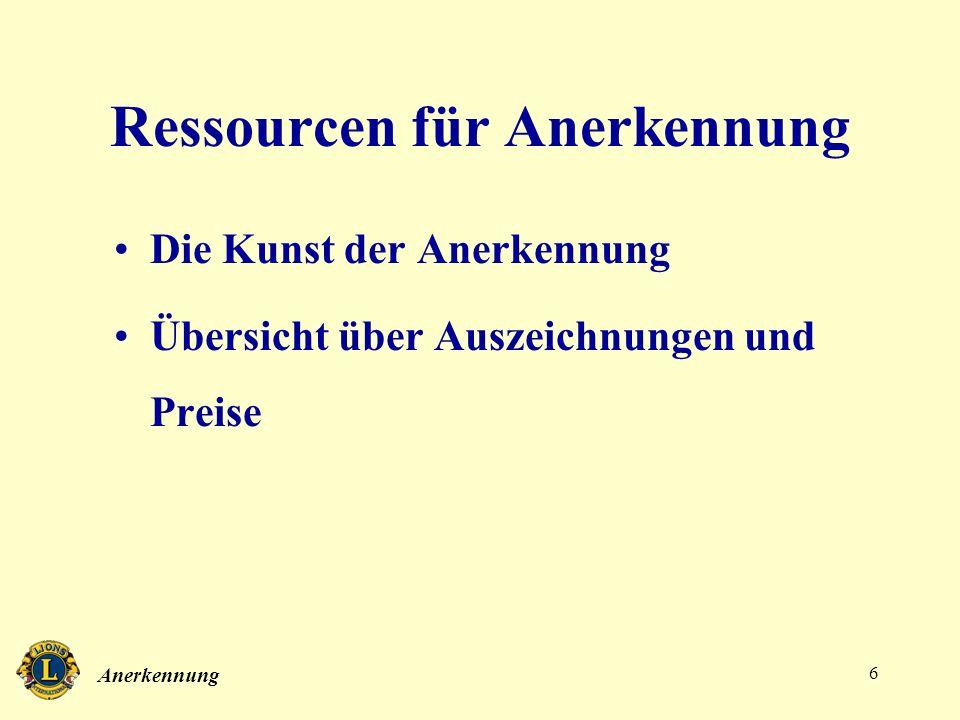 Ressourcen für Anerkennung