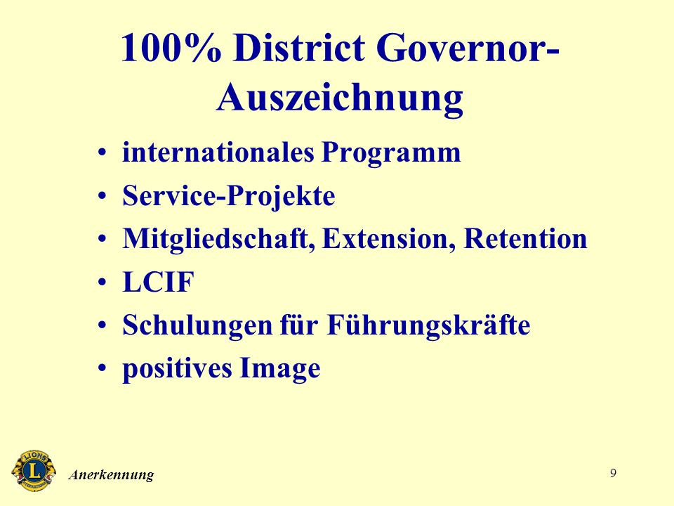 100% District Governor-Auszeichnung