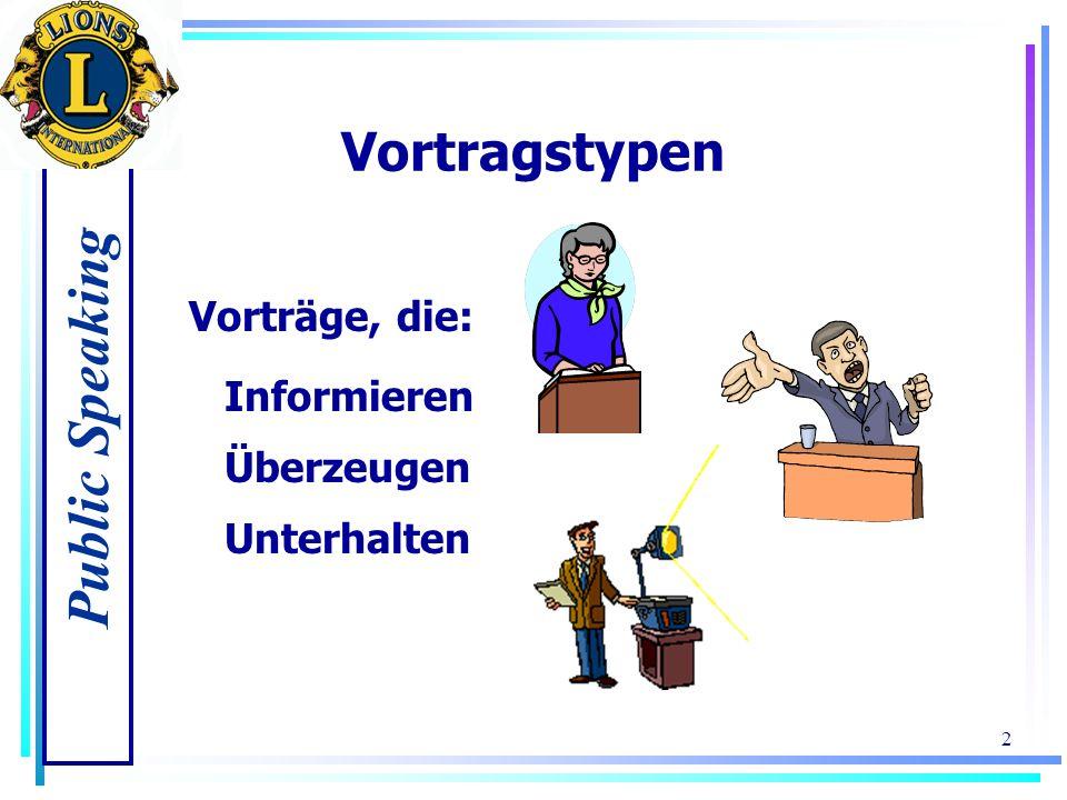 Vortragstypen Vorträge, die: Informieren Überzeugen Unterhalten