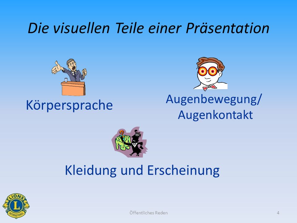Die visuellen Teile einer Präsentation