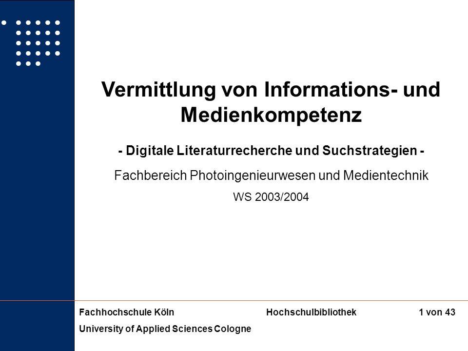 Vermittlung von Informations- und Medienkompetenz