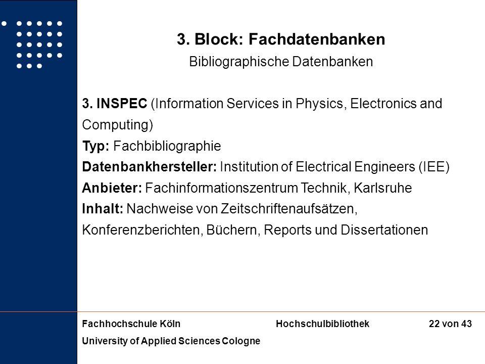 3. Block: Fachdatenbanken