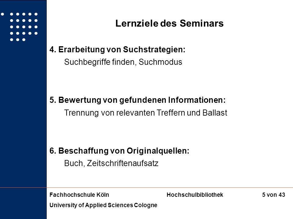 Lernziele des Seminars
