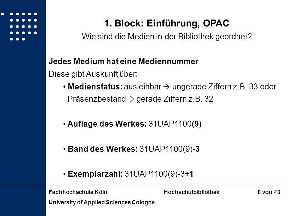 1. Block: Einführung, OPAC