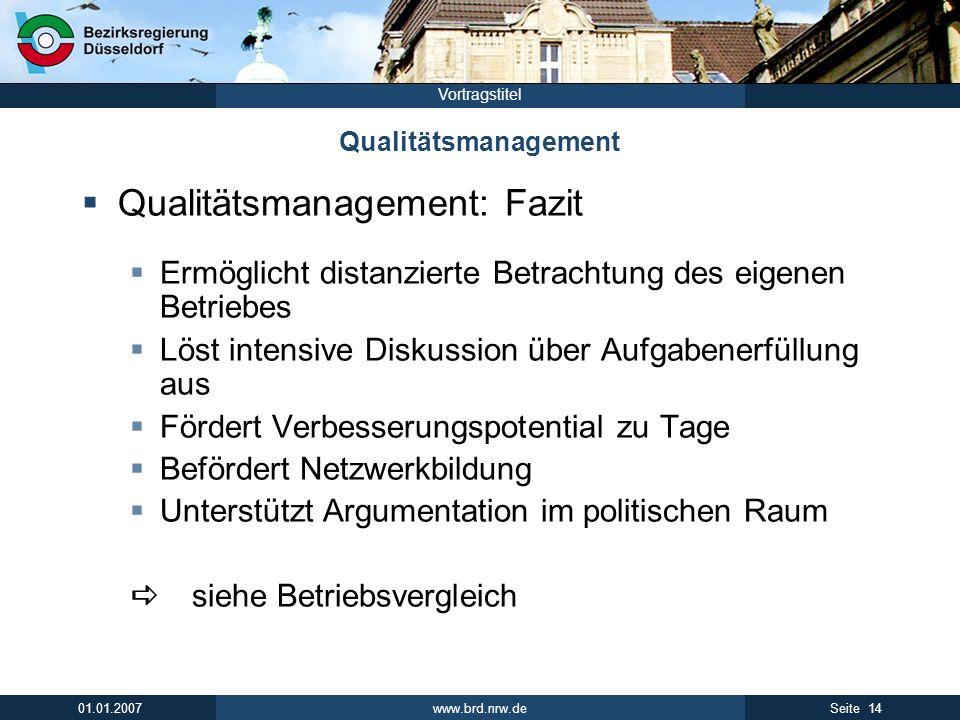 Qualitätsmanagement: Fazit