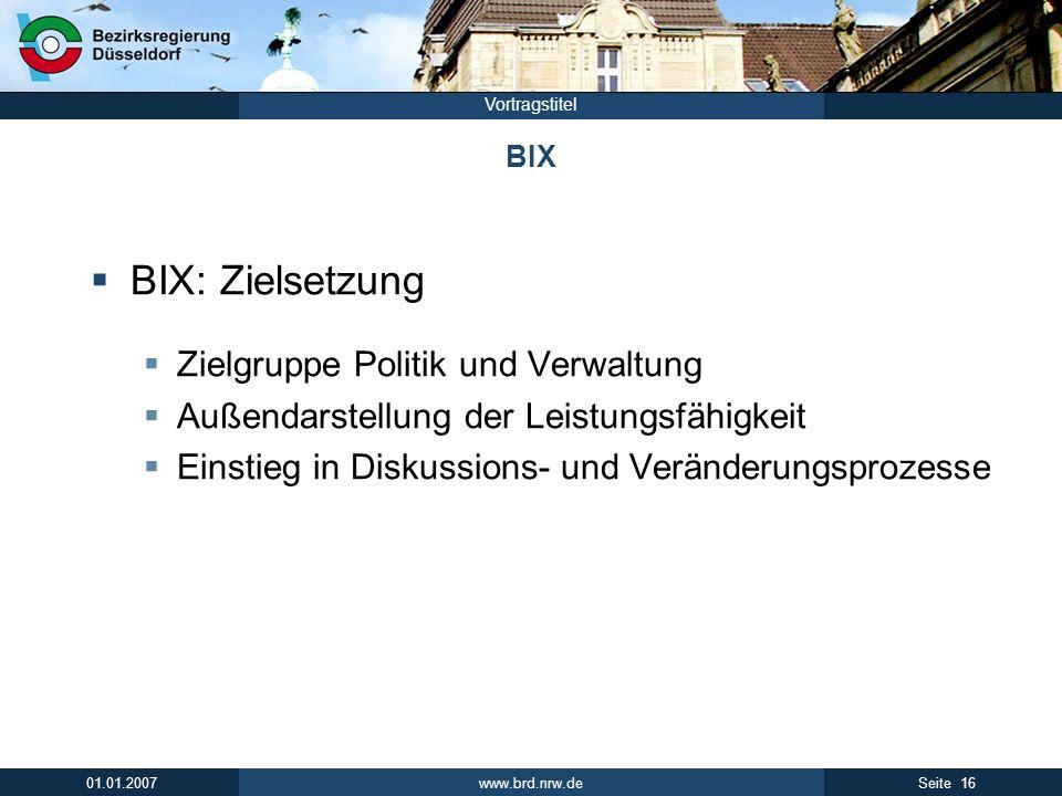 BIX: Zielsetzung Zielgruppe Politik und Verwaltung