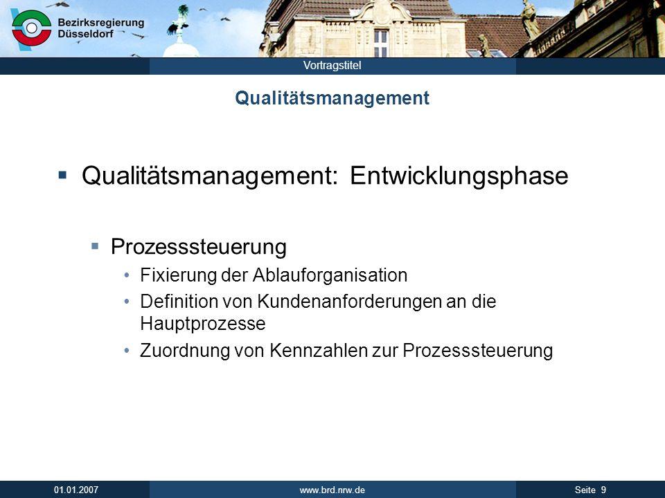 Qualitätsmanagement: Entwicklungsphase