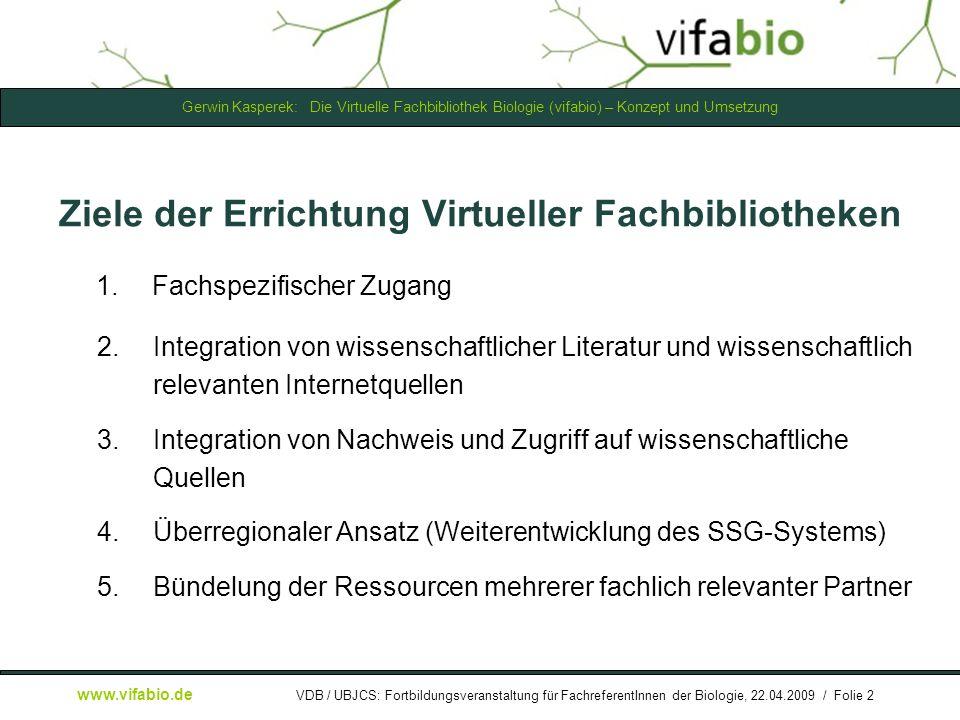 Ziele der Errichtung Virtueller Fachbibliotheken