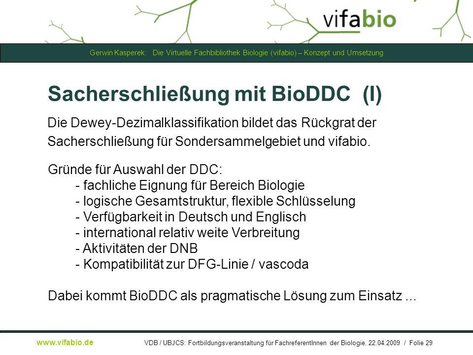 Sacherschließung mit BioDDC (I)