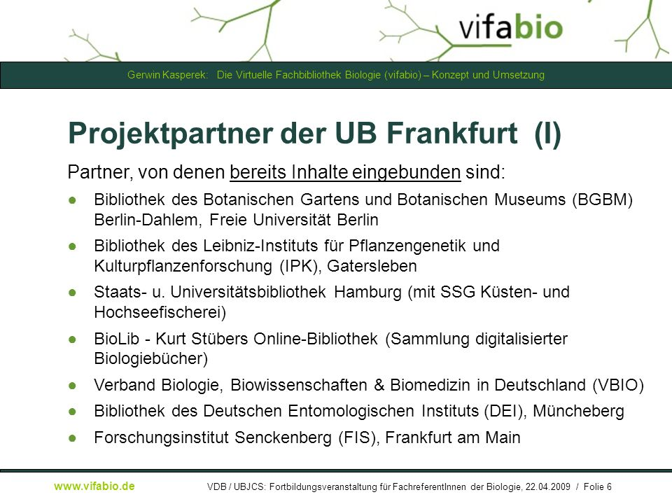 Projektpartner der UB Frankfurt (I)