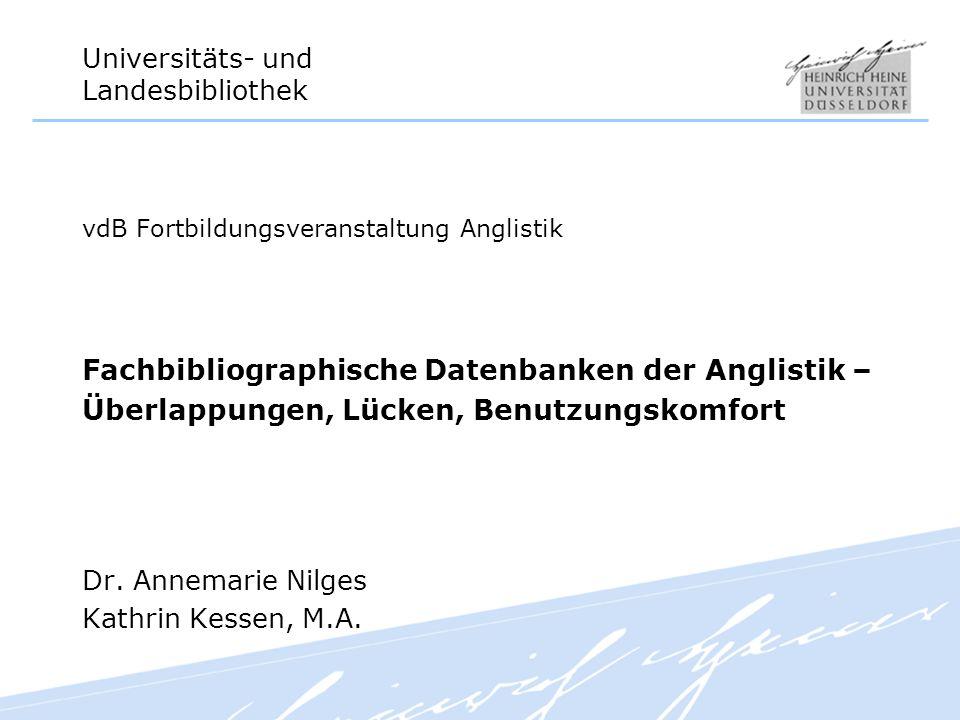 Fachbibliographische Datenbanken der Anglistik –