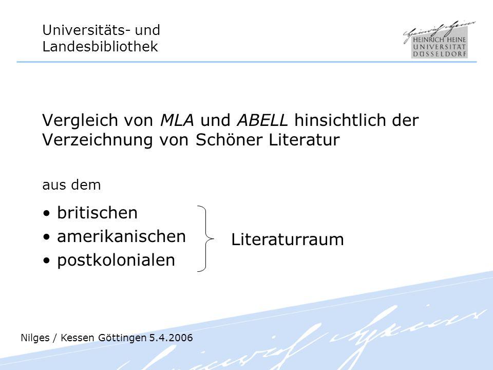 Vergleich von MLA und ABELL hinsichtlich der Verzeichnung von Schöner Literatur