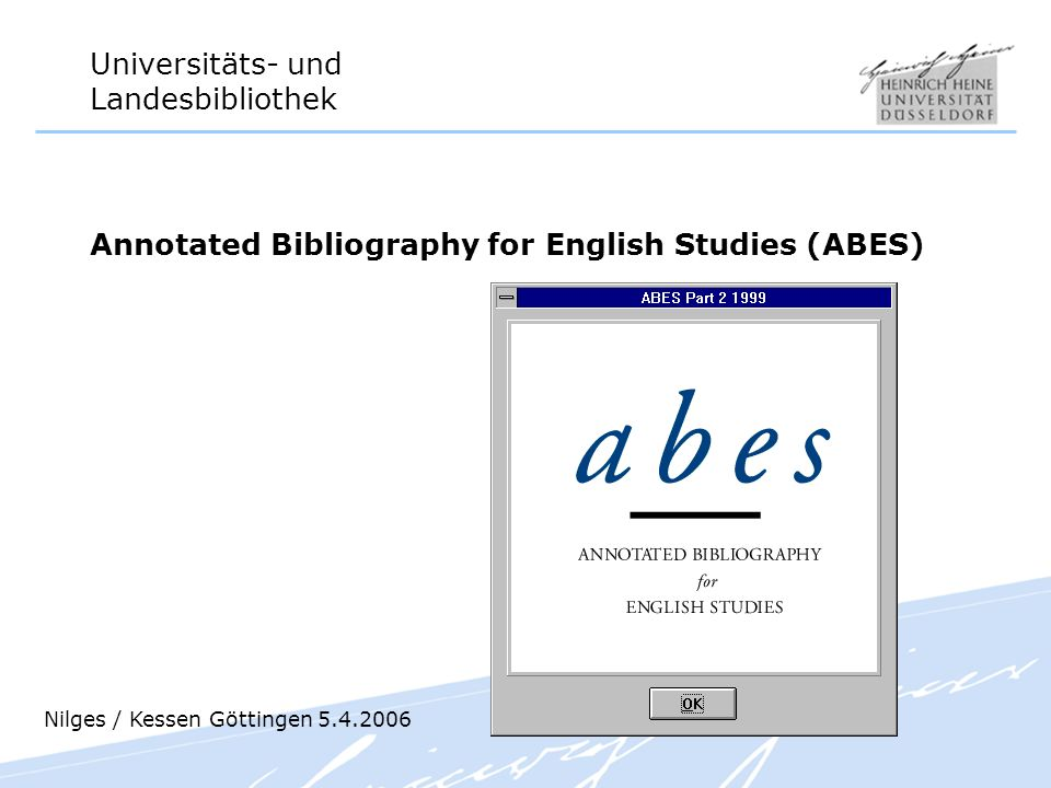 Annotated Bibliography for English Studies (ABES)