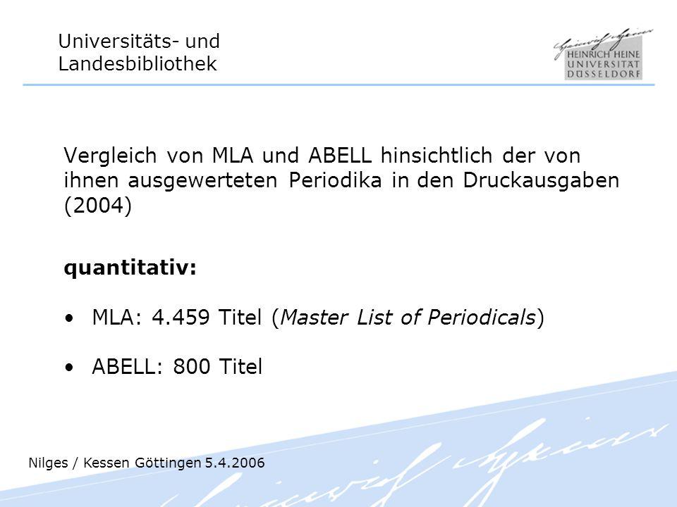 MLA: 4.459 Titel (Master List of Periodicals) ABELL: 800 Titel