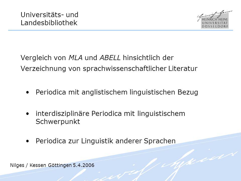 Periodica mit anglistischem linguistischen Bezug