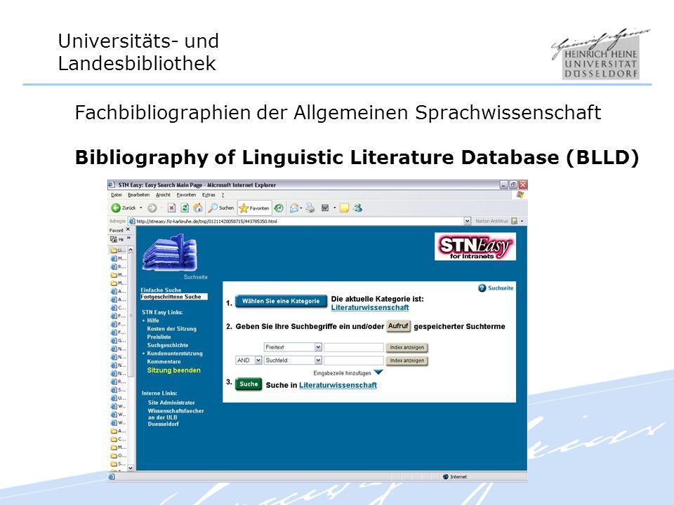 Fachbibliographien der Allgemeinen Sprachwissenschaft